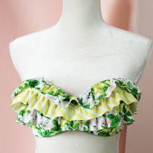 VS Swim Lemon Stripe Ruffle Bikini Tie Top